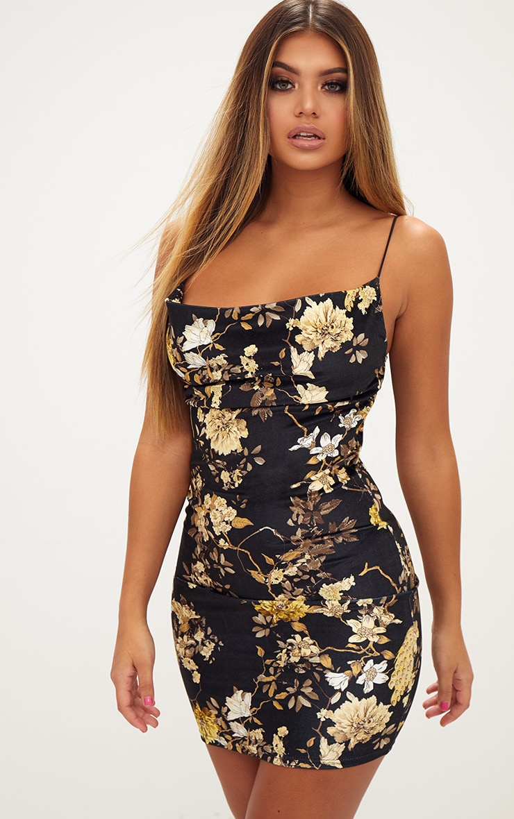 Black Velvet Floral Cowl Neck Bodycon Dress 1
