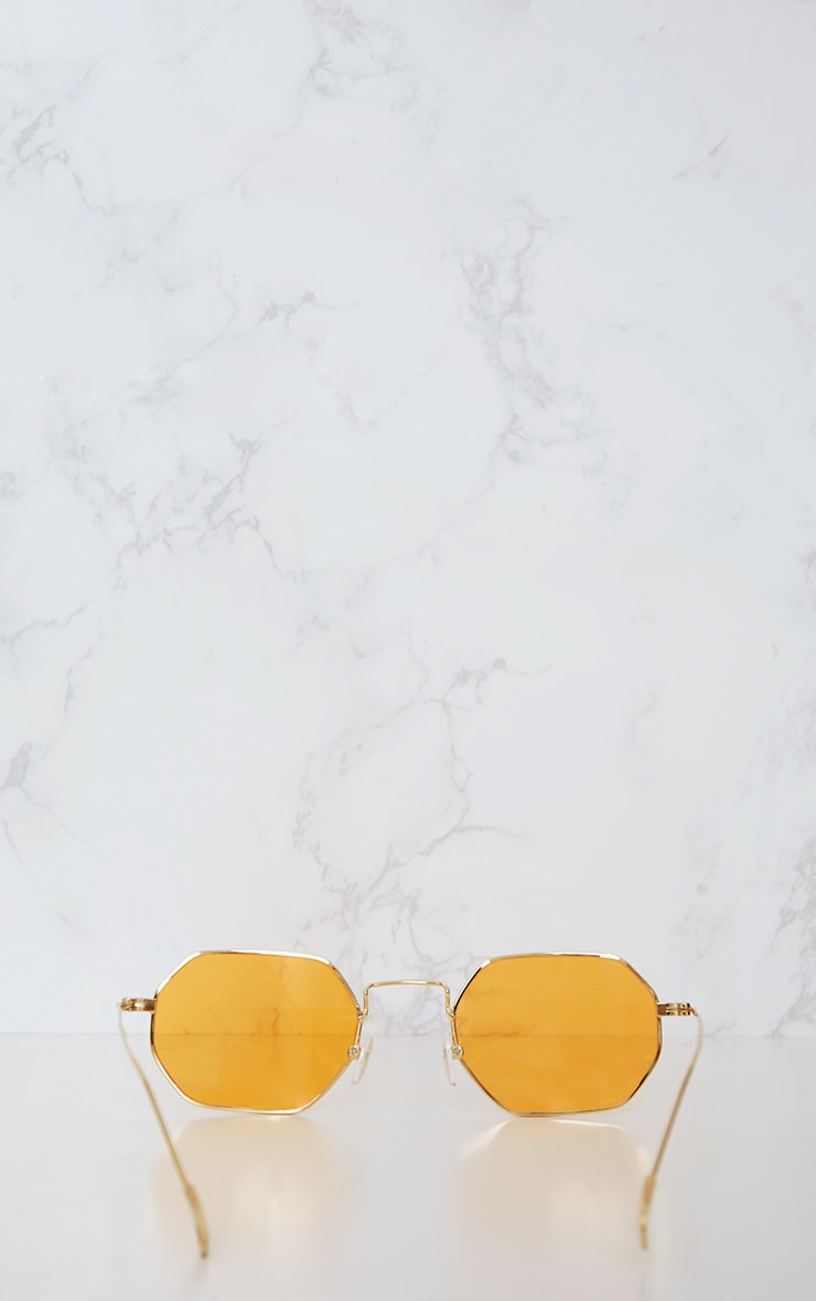 Orange Hexagon Retro Sunglasses 6