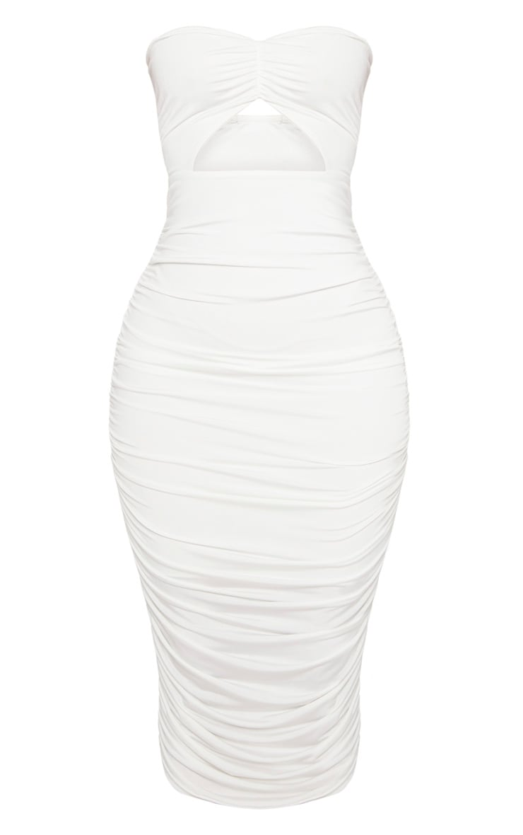 Shape White Slinky Cut Out Ruched Bandeau Midi Dress 3