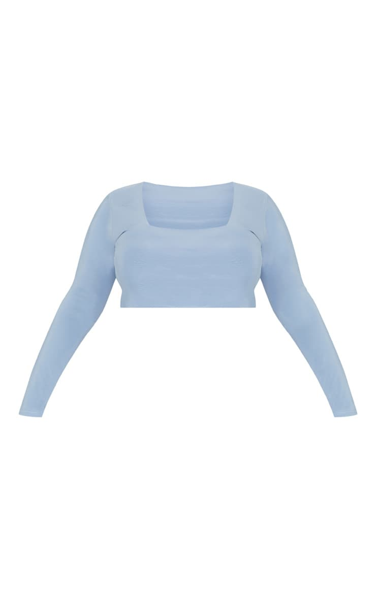 Plus Dusky Blue Second Skin Square Neck Long Sleeve Crop Top 4