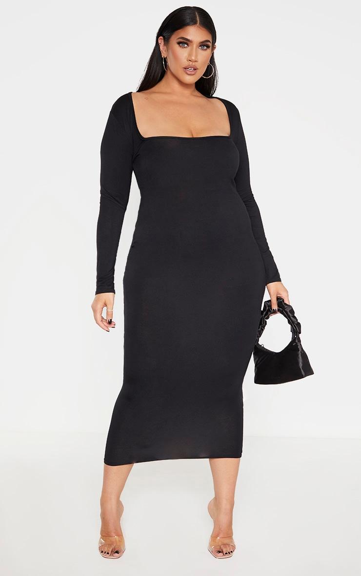Plus Black Jersey Long Sleeve Midi Dress 4