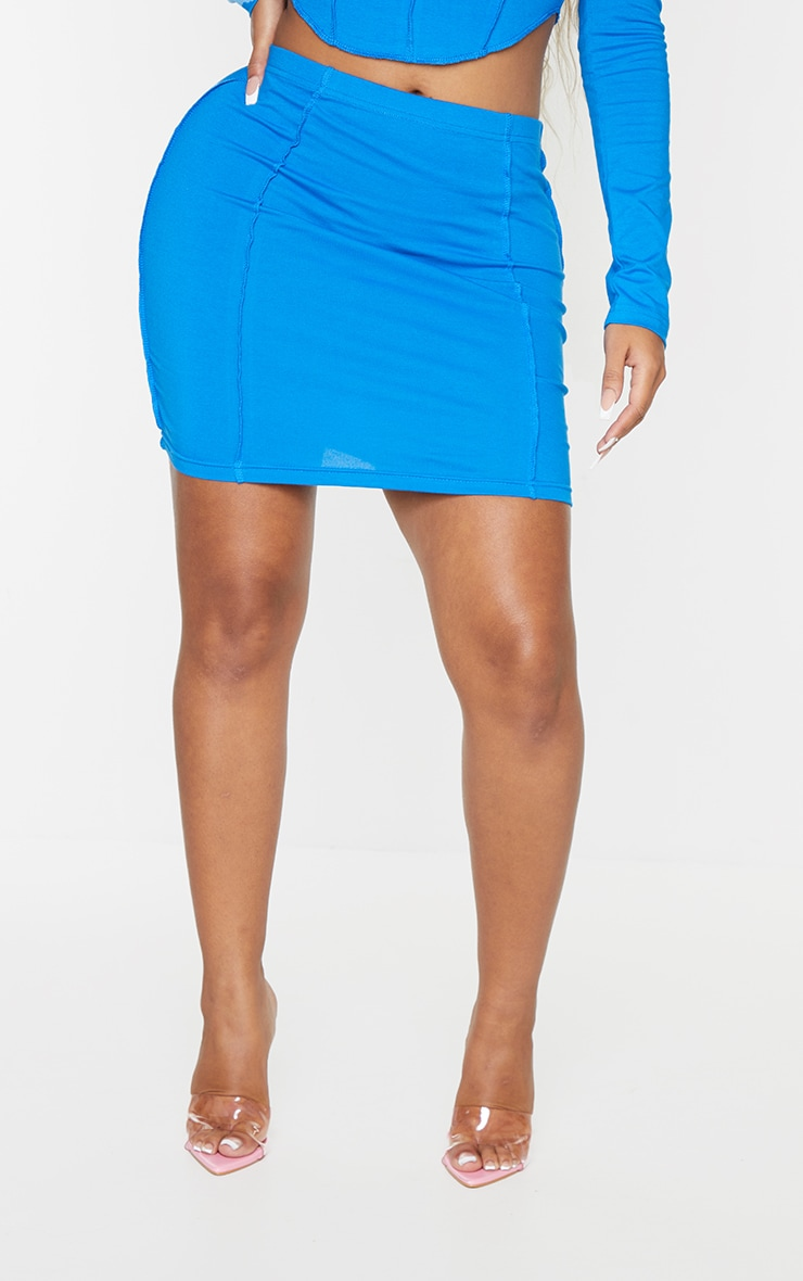 Recycled Shape Bright Blue Cotton Overlock Detail Bodycon Skirt 2