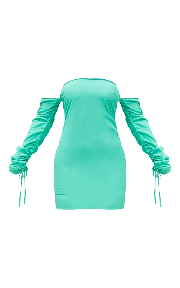 Green Woven Bardot Ruched Sleeve Bodycon Dress 5