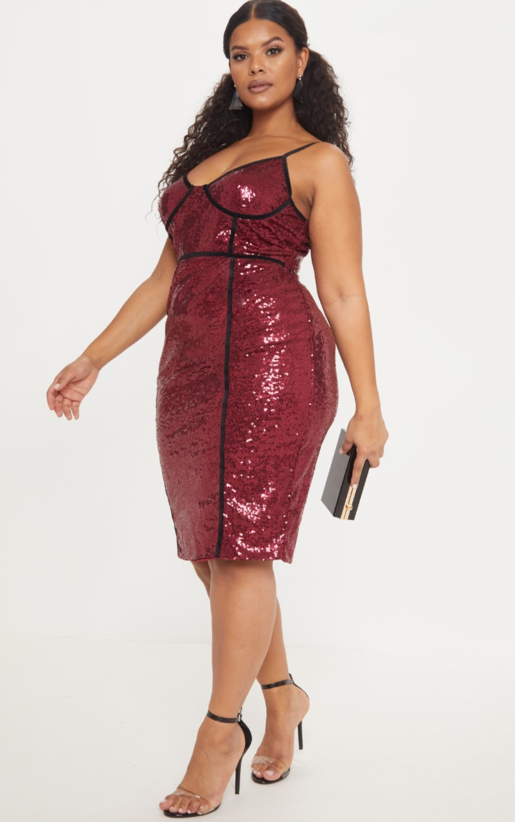 Plus Burgundy Sequin Binding Midi Dress 4