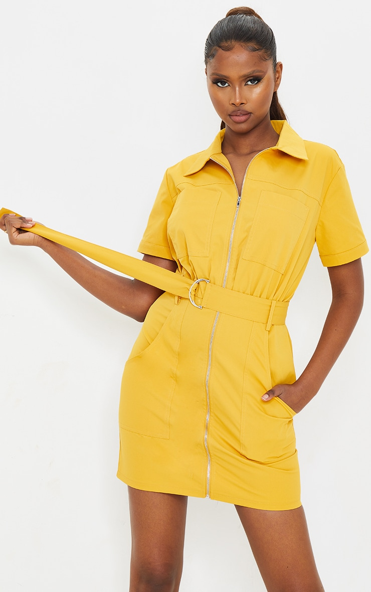 Mustard Woven Zip Through Belted Utility Shirt Dress 3