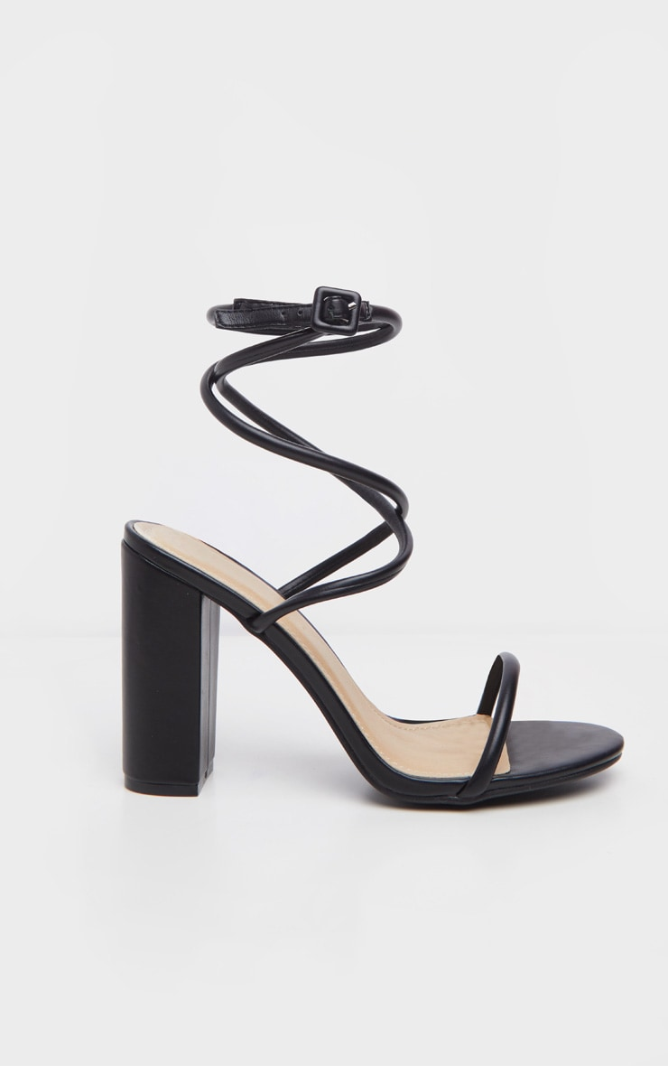 Black Tube Strappy Block Heel Sandal 3