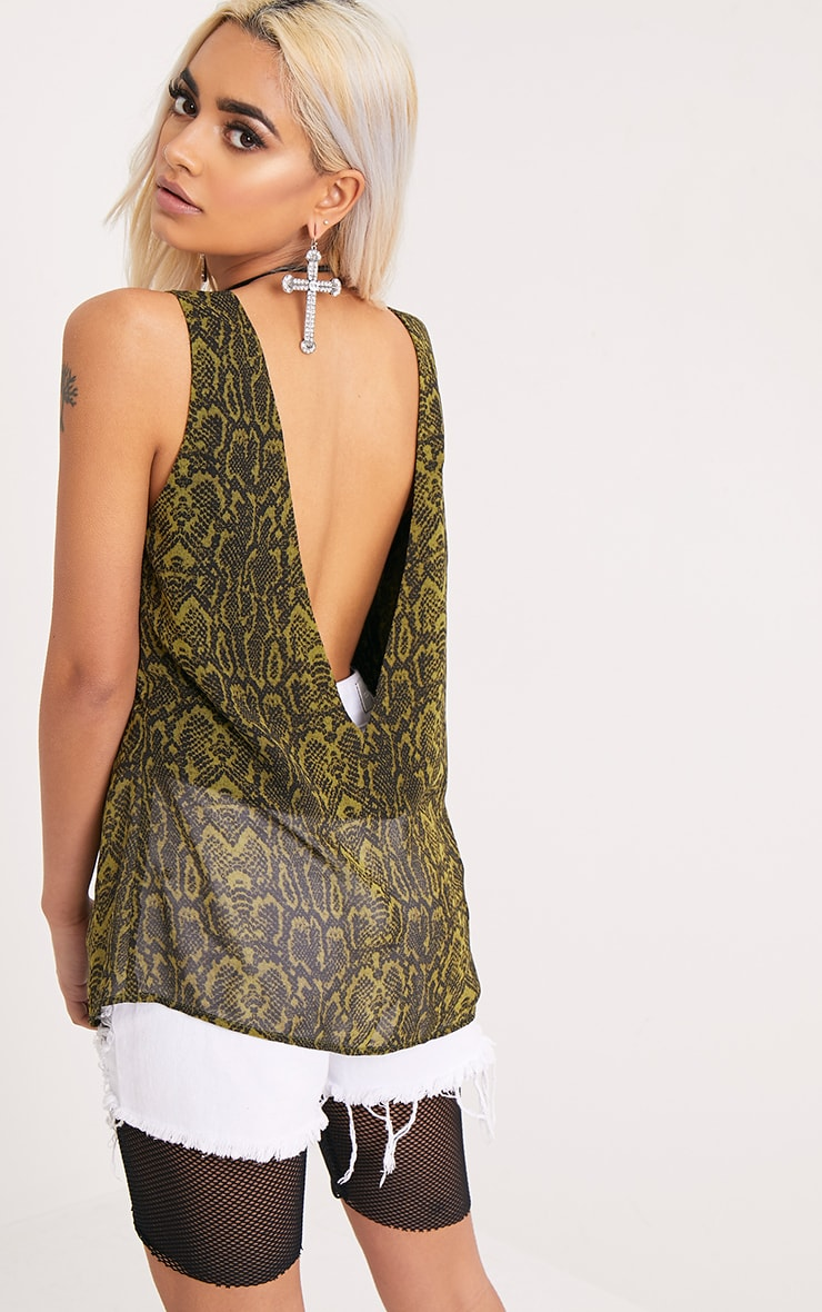 Claire Green Snakeskin V Back Woven Top 2