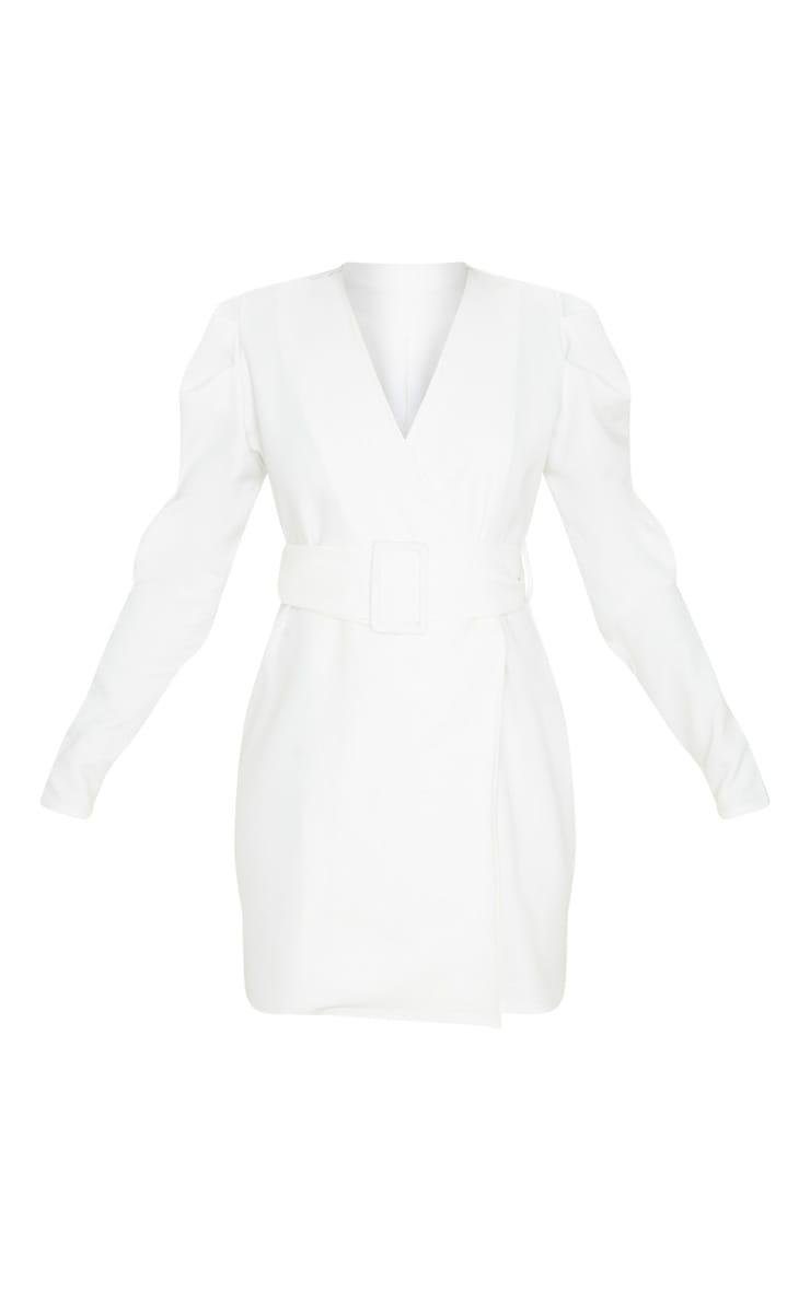 White Puff Sleeve Blazer Dress 3