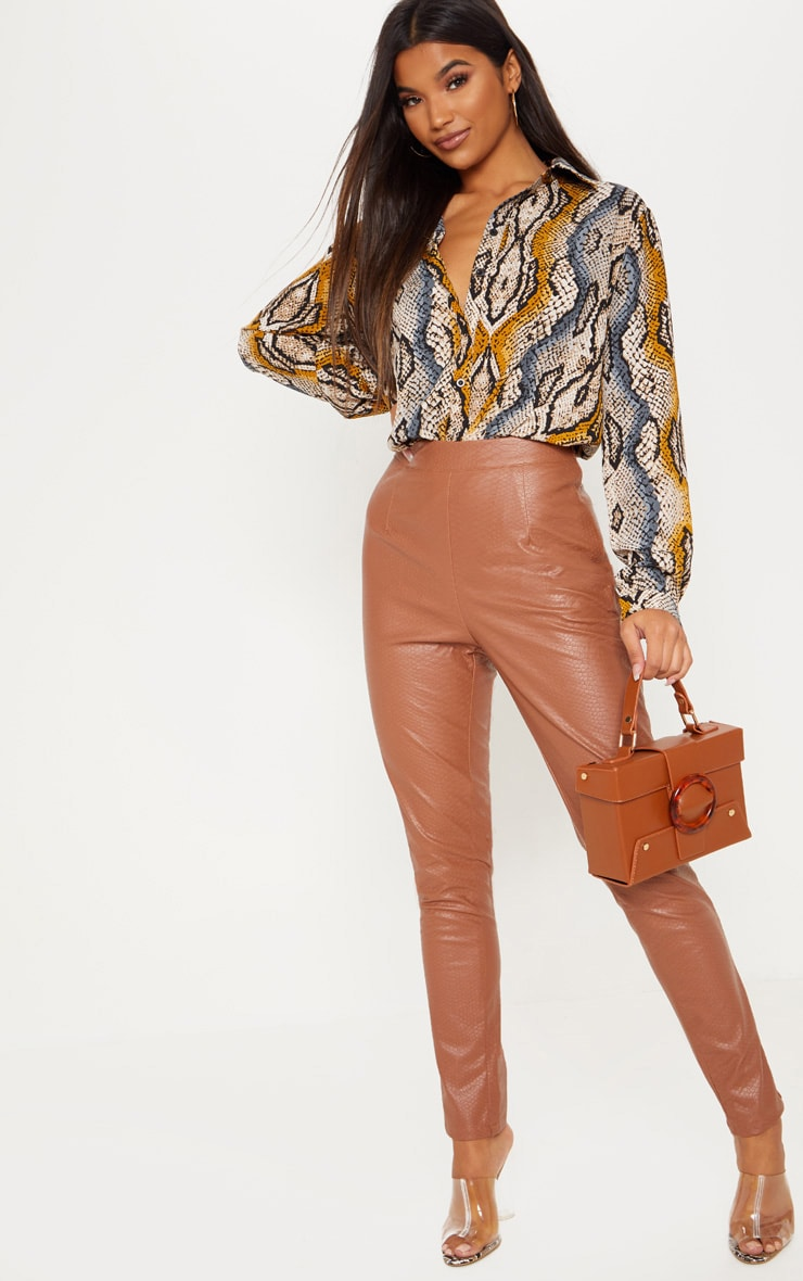 Tan Faux Leather Embossed Snakeskin Skinny Trouser 1