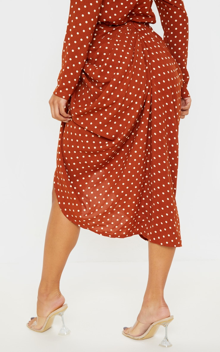Terracotta Polka Dot Split Side Midi Skirt 4