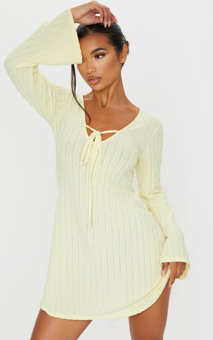 Cream Fine Rib Tie Neck Shift Dress 1