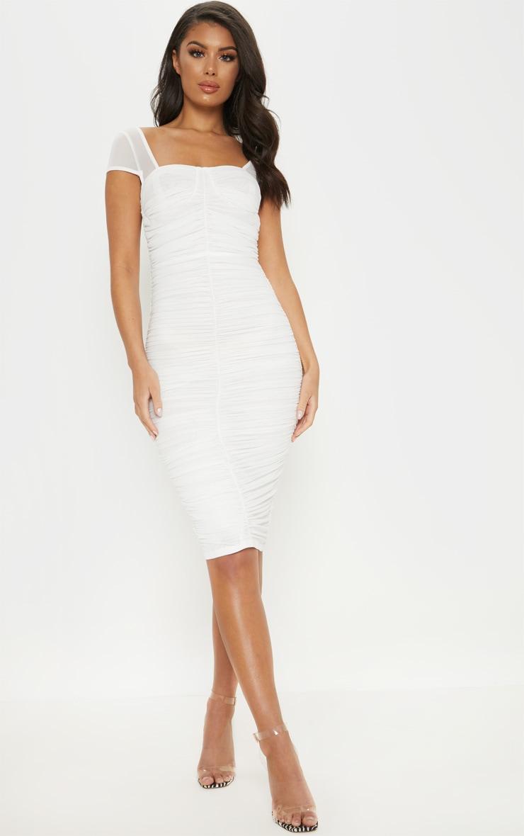 2f3fad74ddfe8 White Mesh Ruched Midi Dress image 1