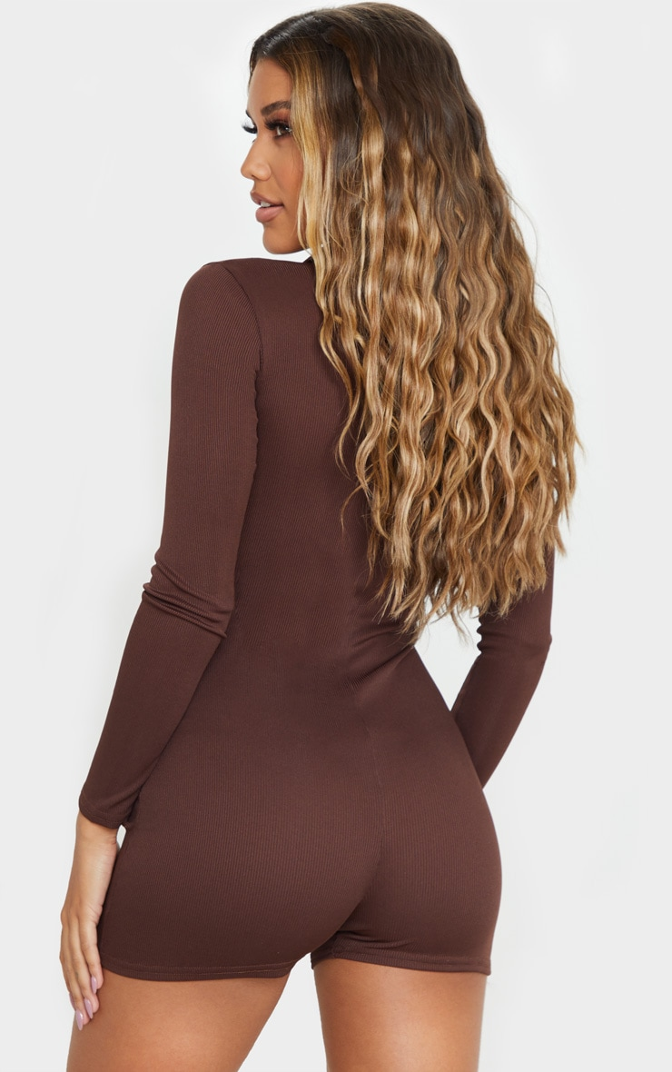 Chocolate Fine Rib Zip Detail Unitard 2
