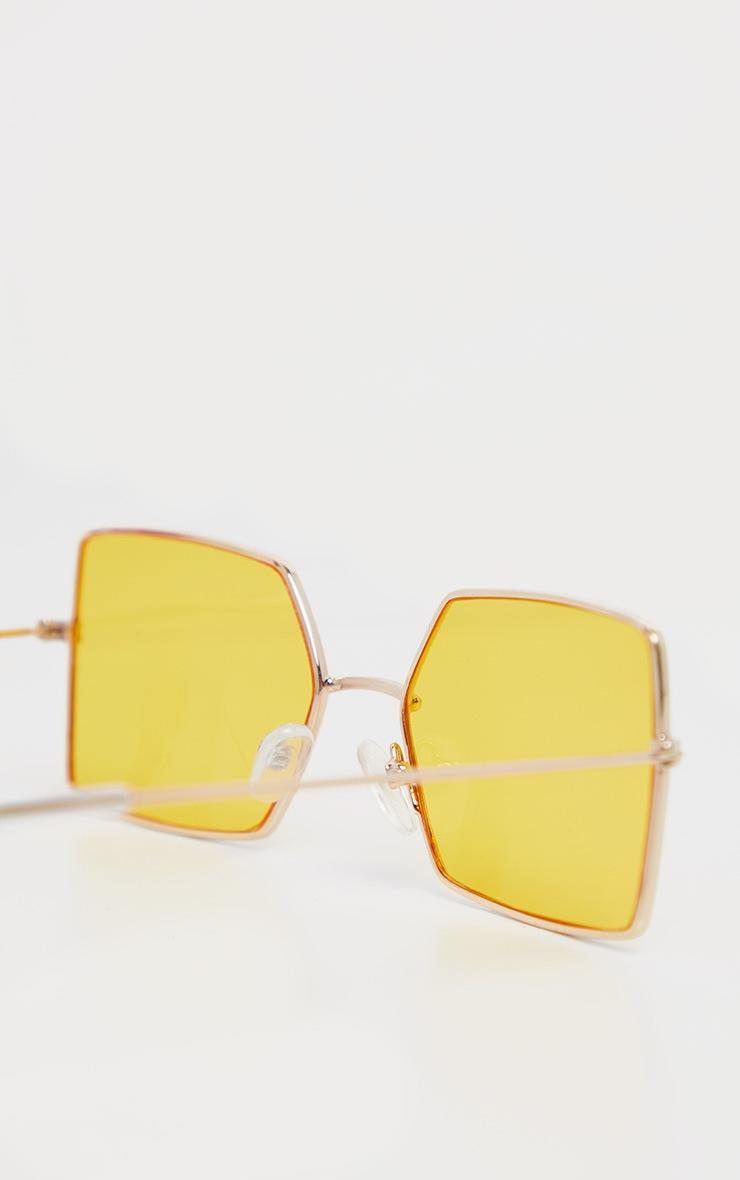 Yellow Retro Square Sunglasses 4