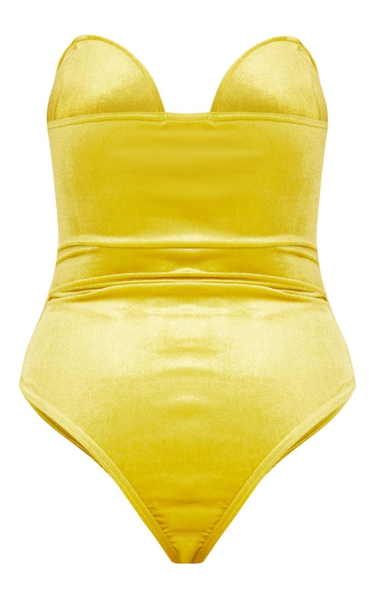 Lime Velvet Deep Plunge Bodysuit 4