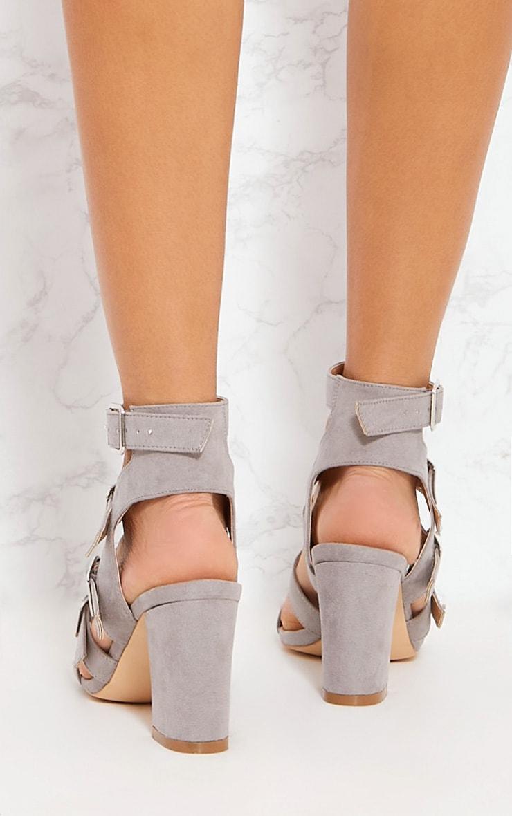 Grey Strappy Buckle Block Heel Sandal 2