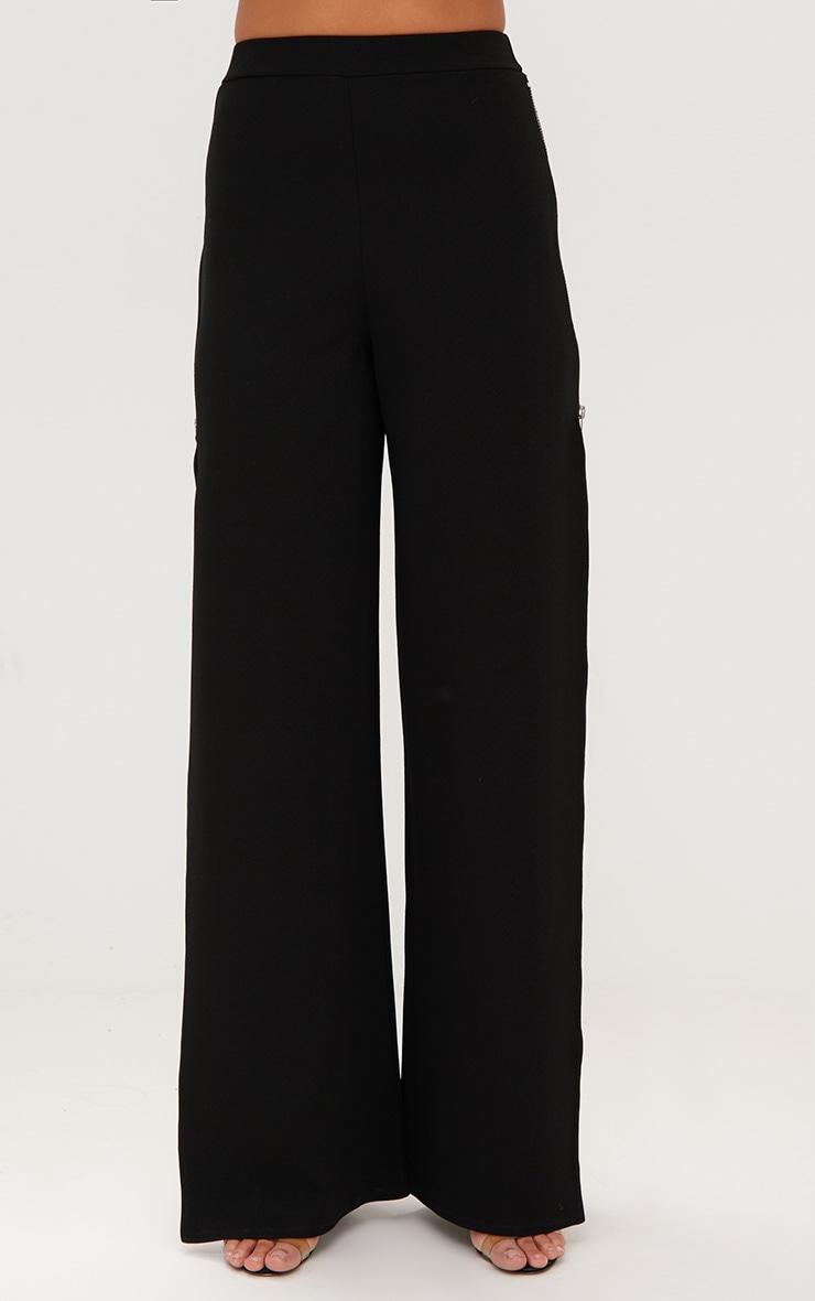 Black Zip Split Wide Leg Track Pants 2
