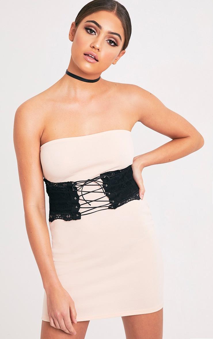 Albanie Nude Corset Detail Bandeau Dress 1