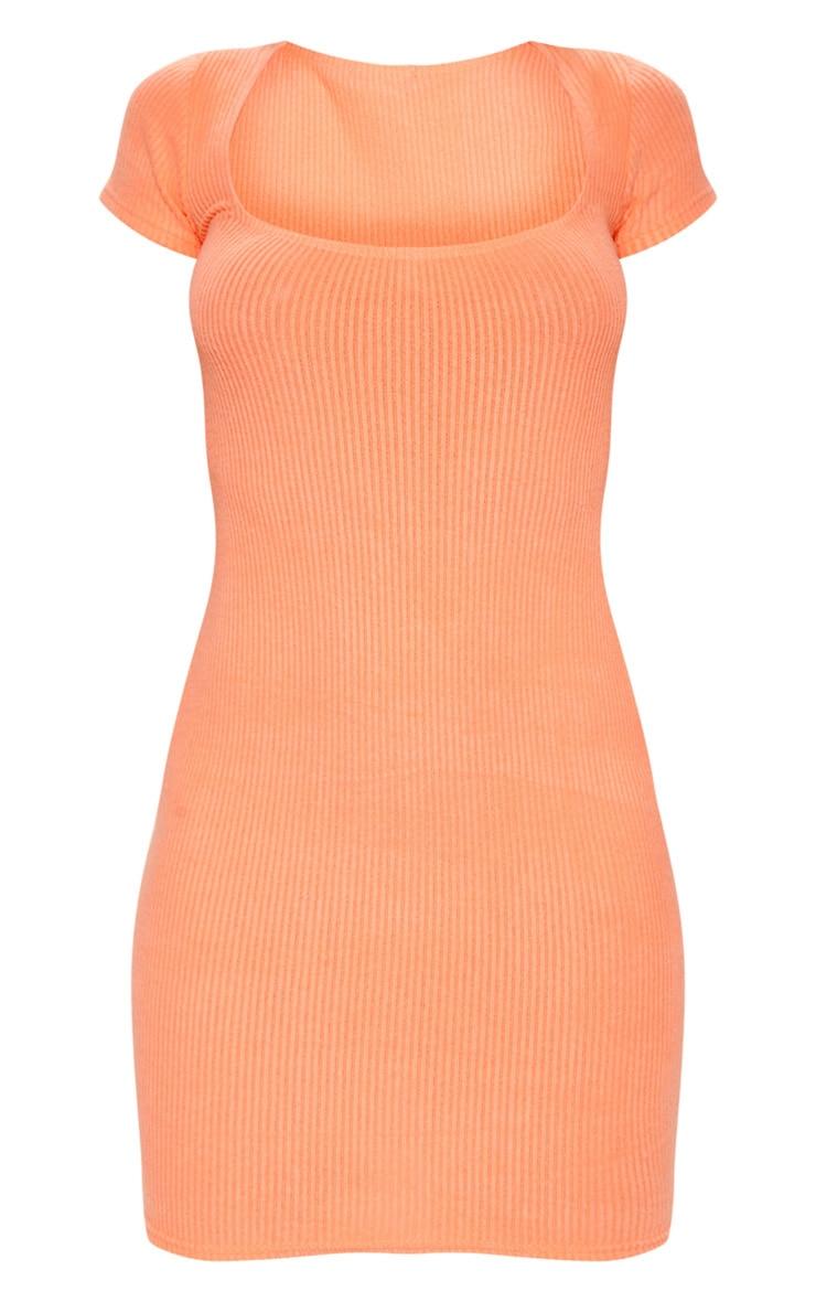 Peach Square Neck Brushed Rib Bodycon Dress  3