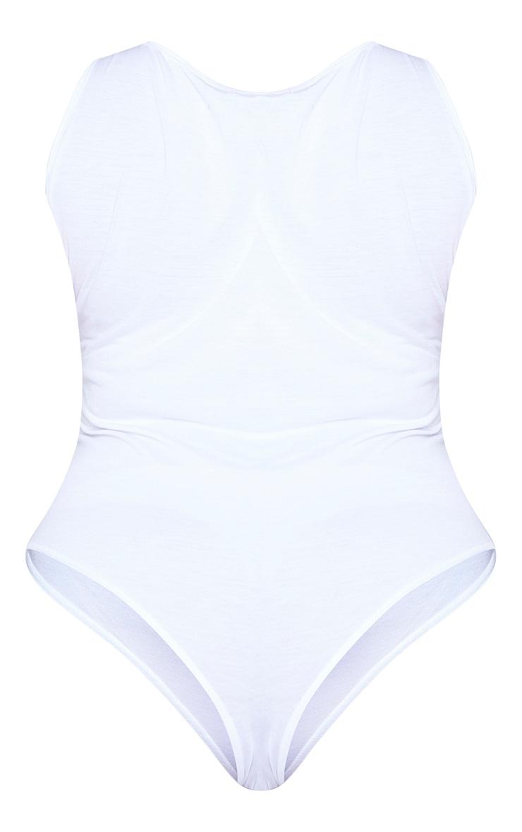 Plus Basic White Jersey Plunge Neck Thong Bodysuit 6