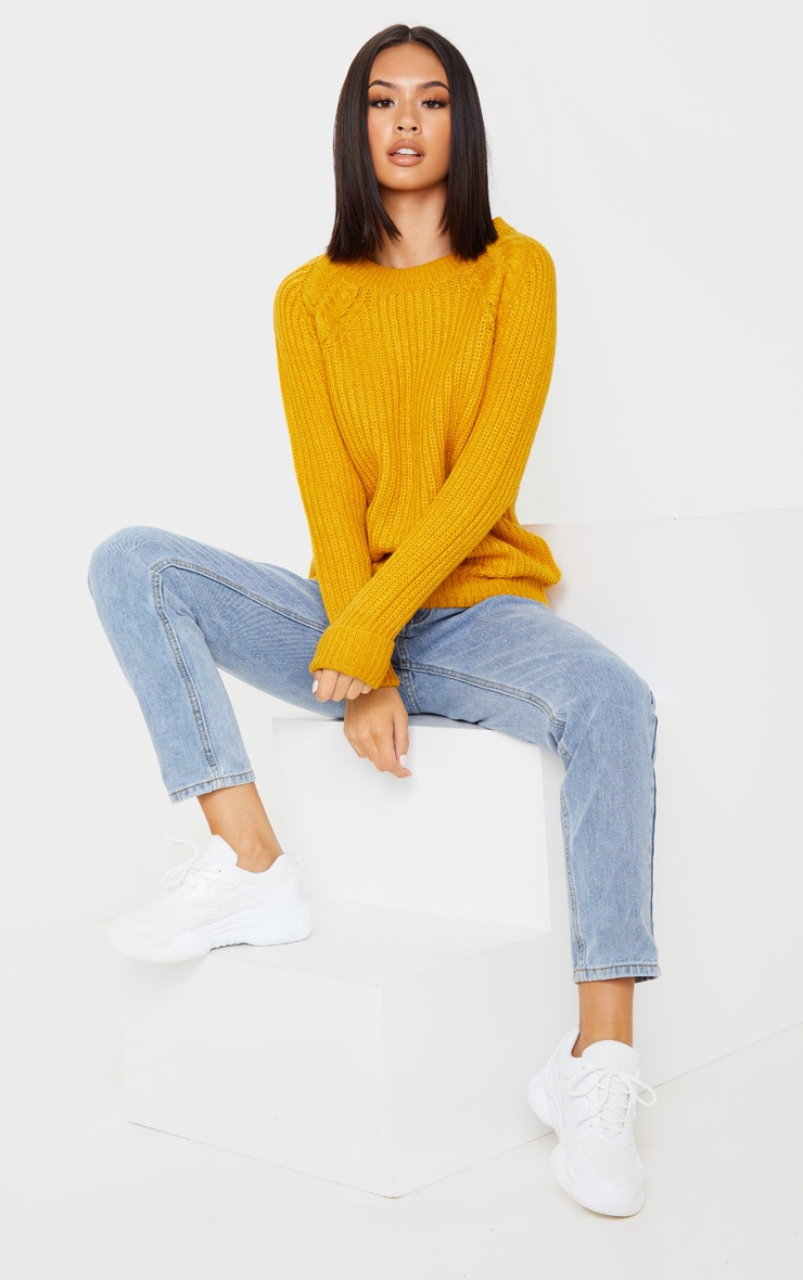 Mustard Cable Shoulder Chunky Knitted Sweater 1