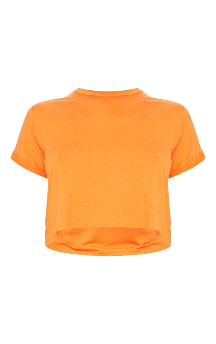 Basic Orange Roll Sleeve Crop T-Shirt 3