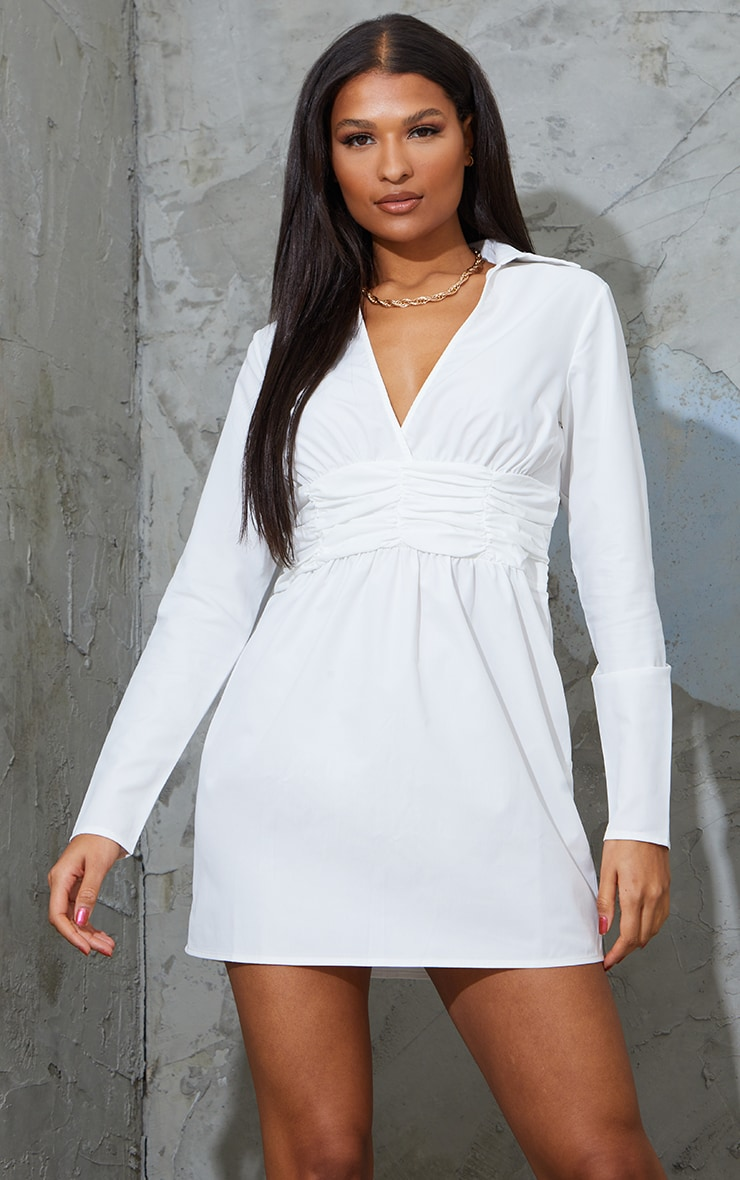 Robe chemise manches longues blanche à taille froncée  1