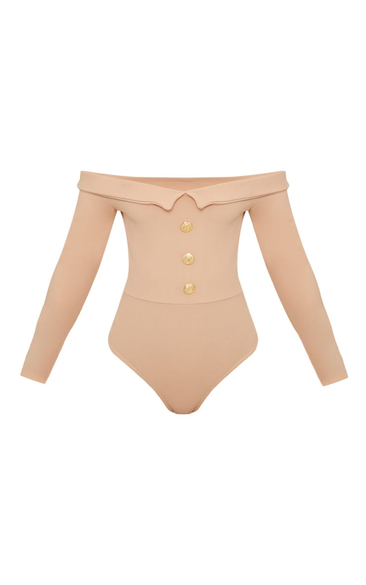 Petite Nude Button Front Tux Detail Long Sleeve Bodysuit  3