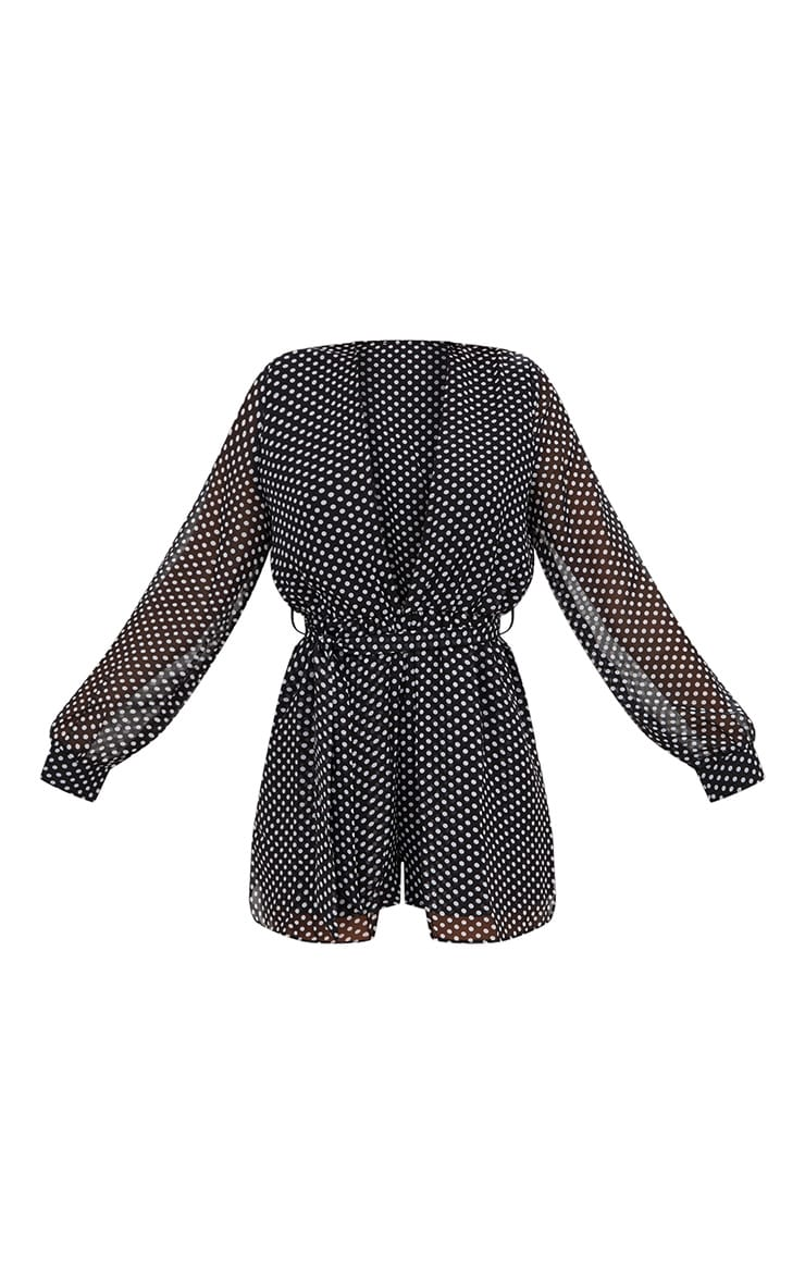 Black Polka Dot Plunge Overlay Playsuit 3