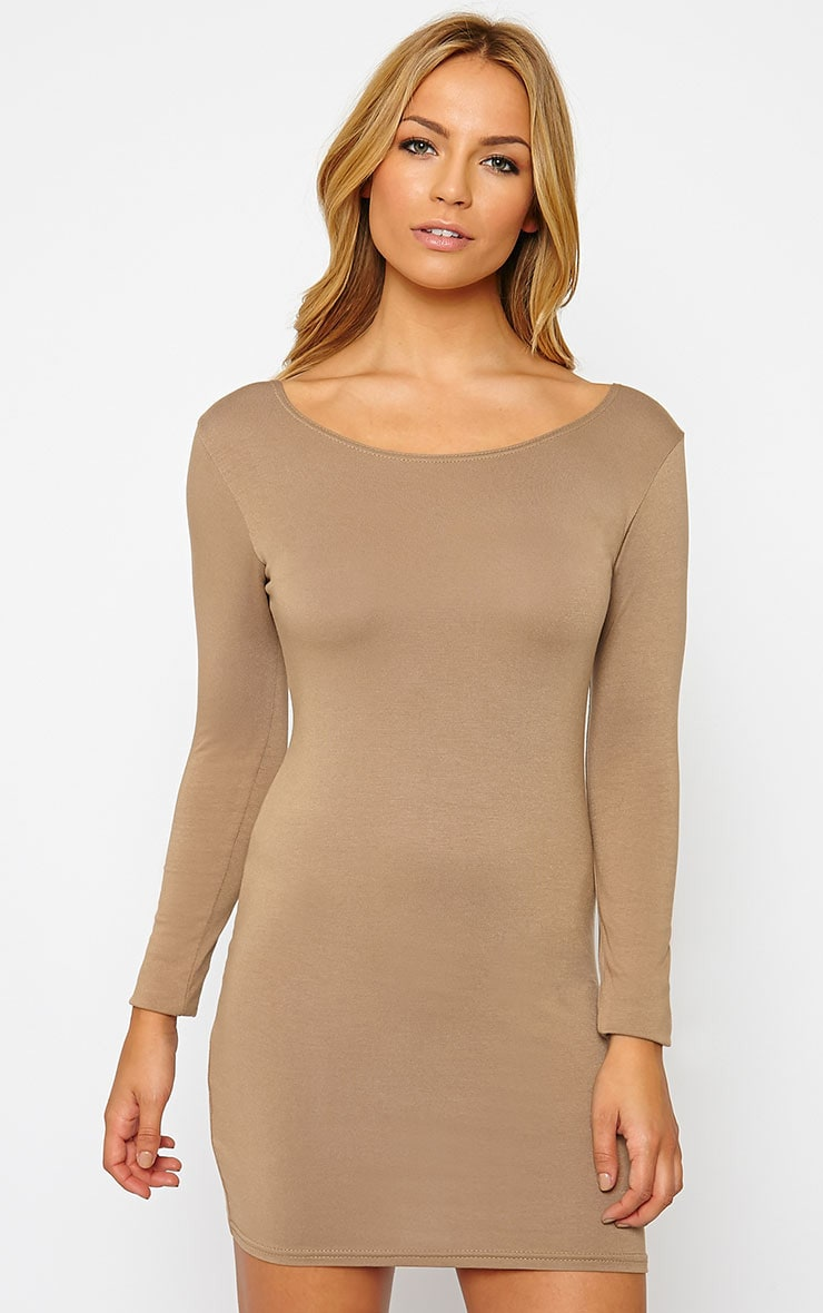 Basic Camel Long Sleeve Jersey Mini Dress 1
