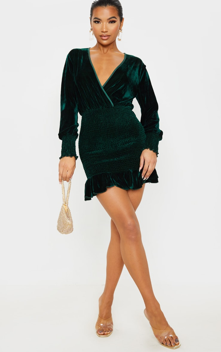 Emerald Green Velvet Shirred Wrap Front Bodycon Dress 4