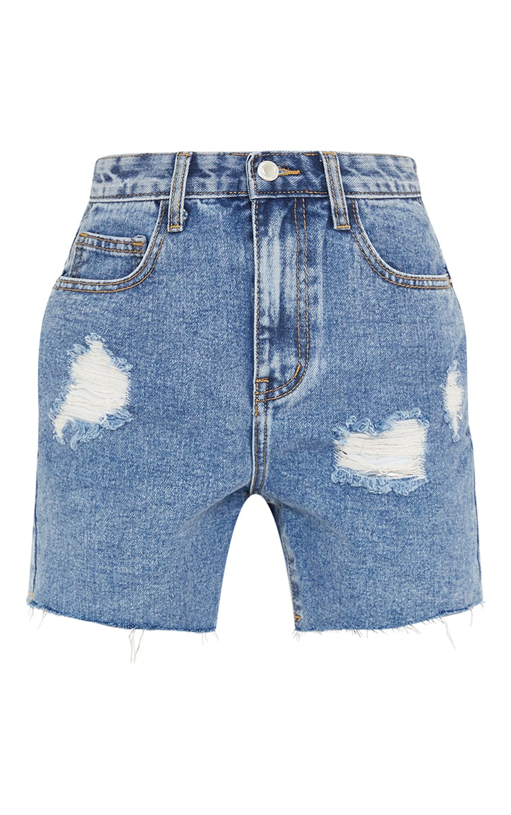 PRETTYLITTLETHING Petite Blue Vintage Wash Ripped Longline Fitted Denim Shorts 6