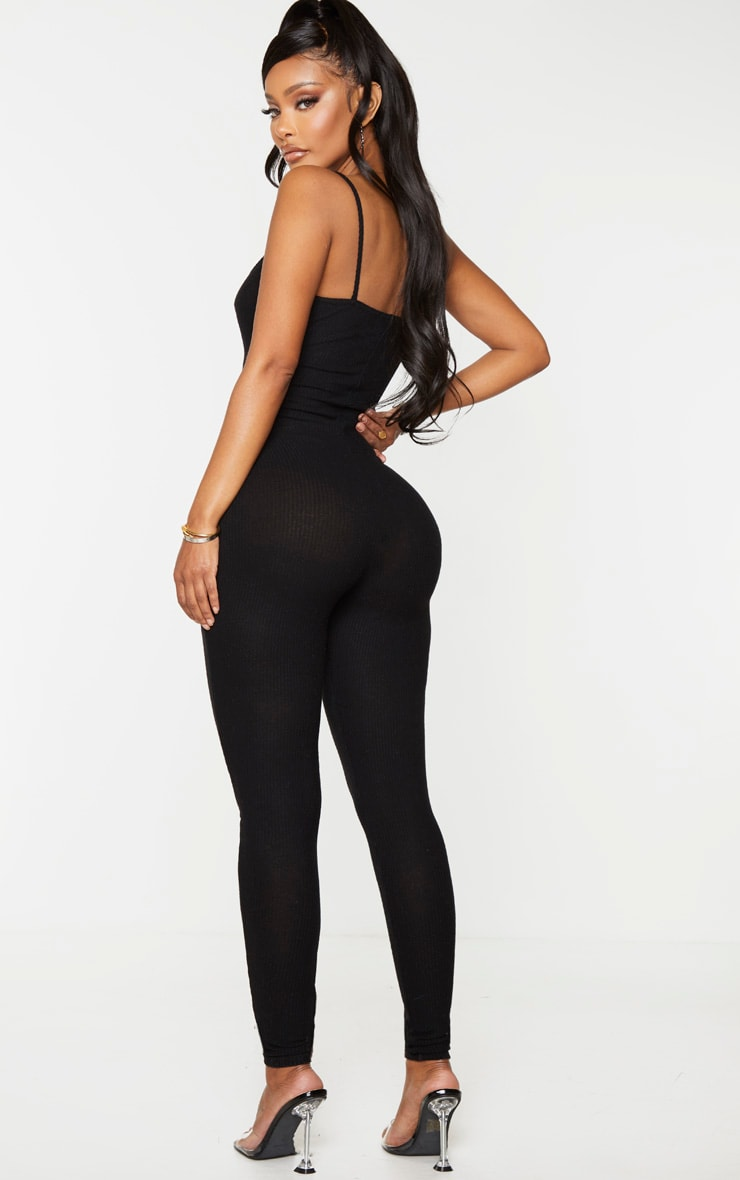 Shape Black Brushed Rib Strappy Jumpsuit 2