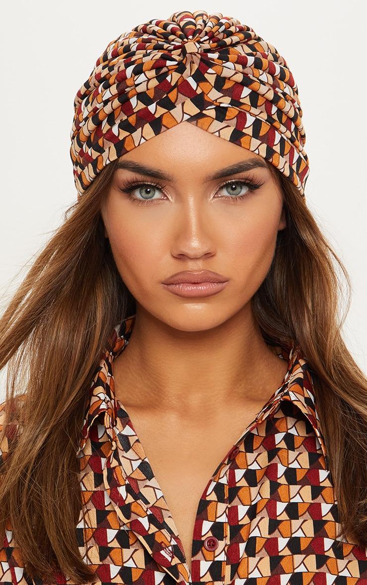 Rust Geo Printed Turban