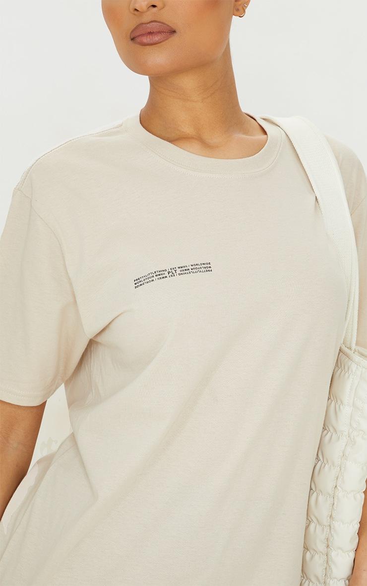 PRETTYLITTLETHING Stone Worldwide Small Print T Shirt 4