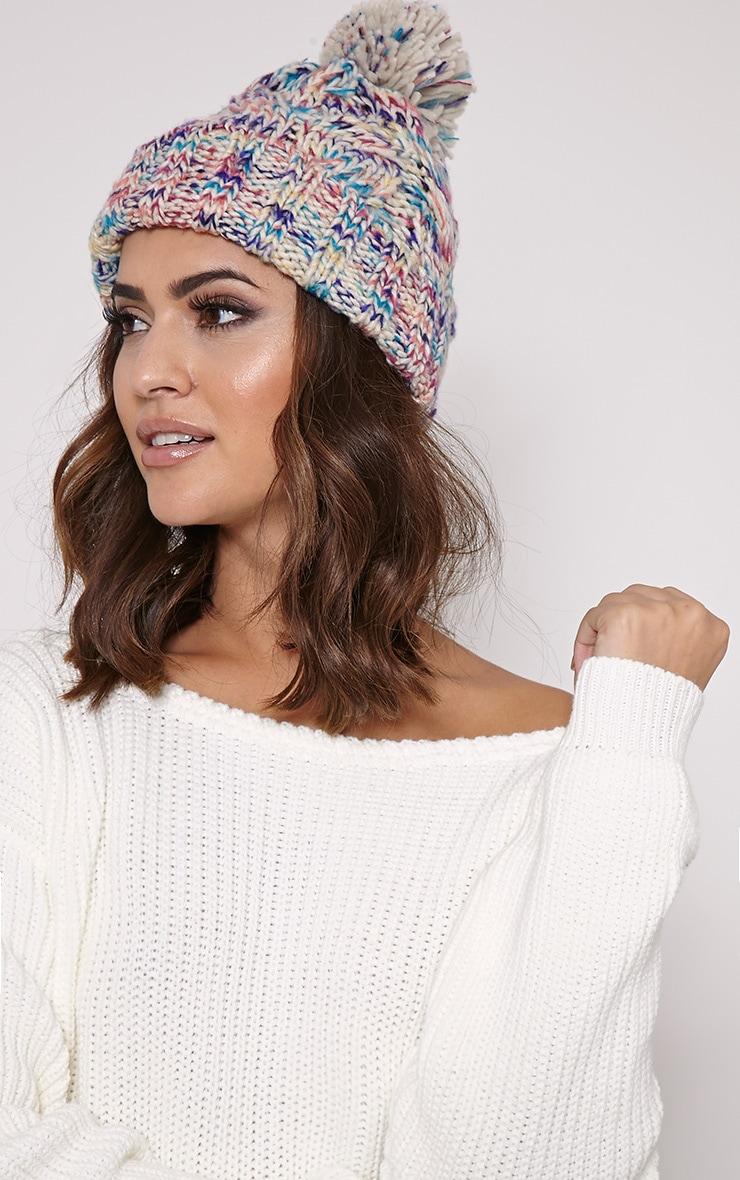 Karli Multi Knitted Bobble Hat 2