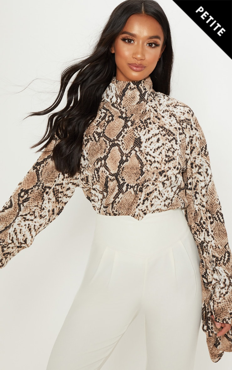 Petite Taupe Snake Print High Neck Ruched Sleeve Blouse
