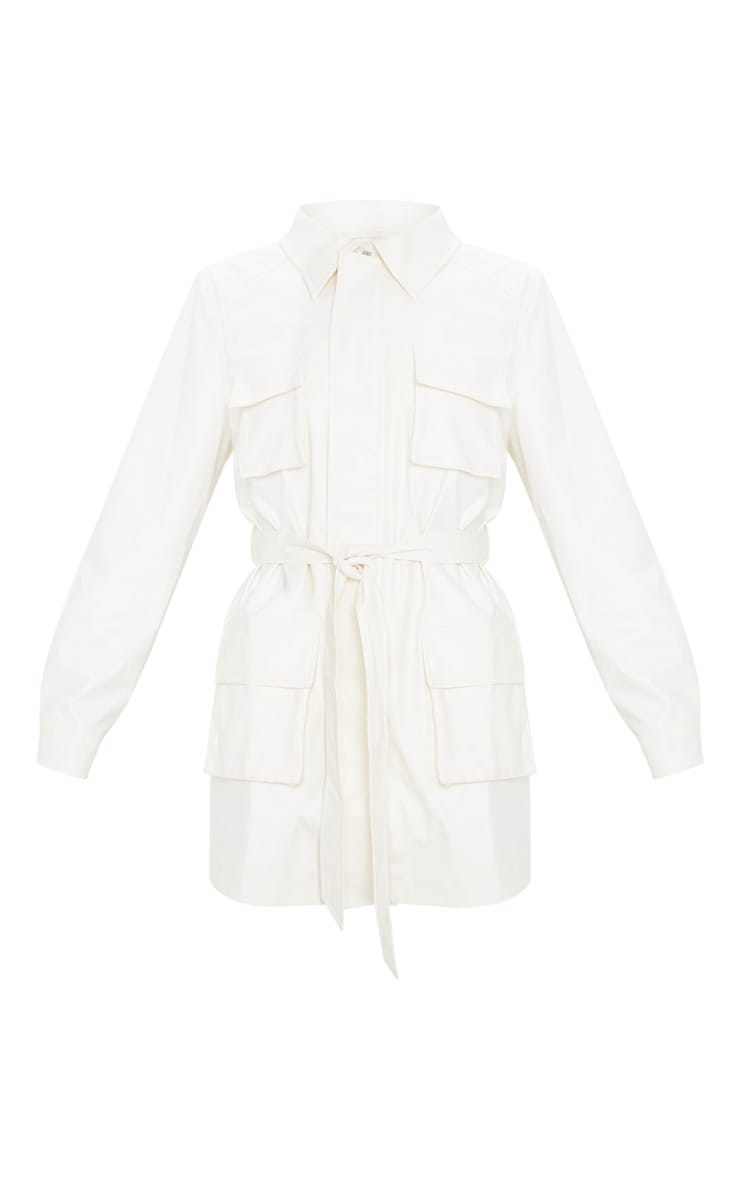 White Faux Leather Pocket Oversized Jacket 3