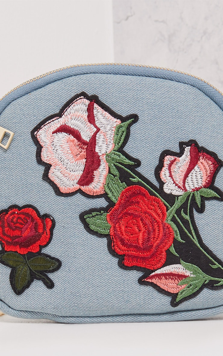 Ellen Denim Rose Applique Bag 5