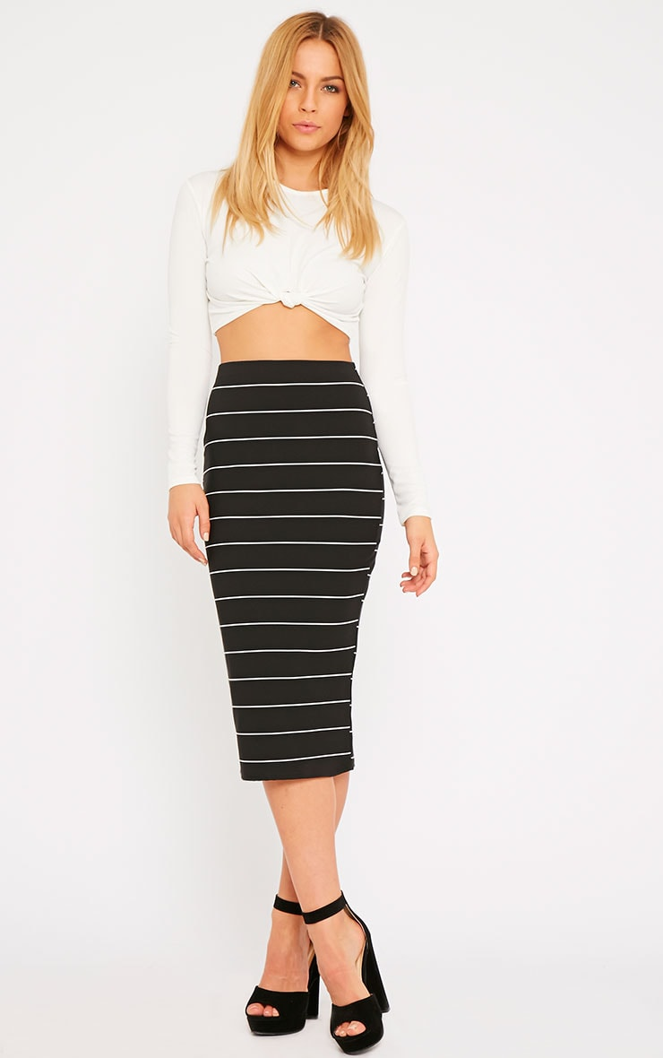 Lorin Black Thick Stripe Midi Skirt 1
