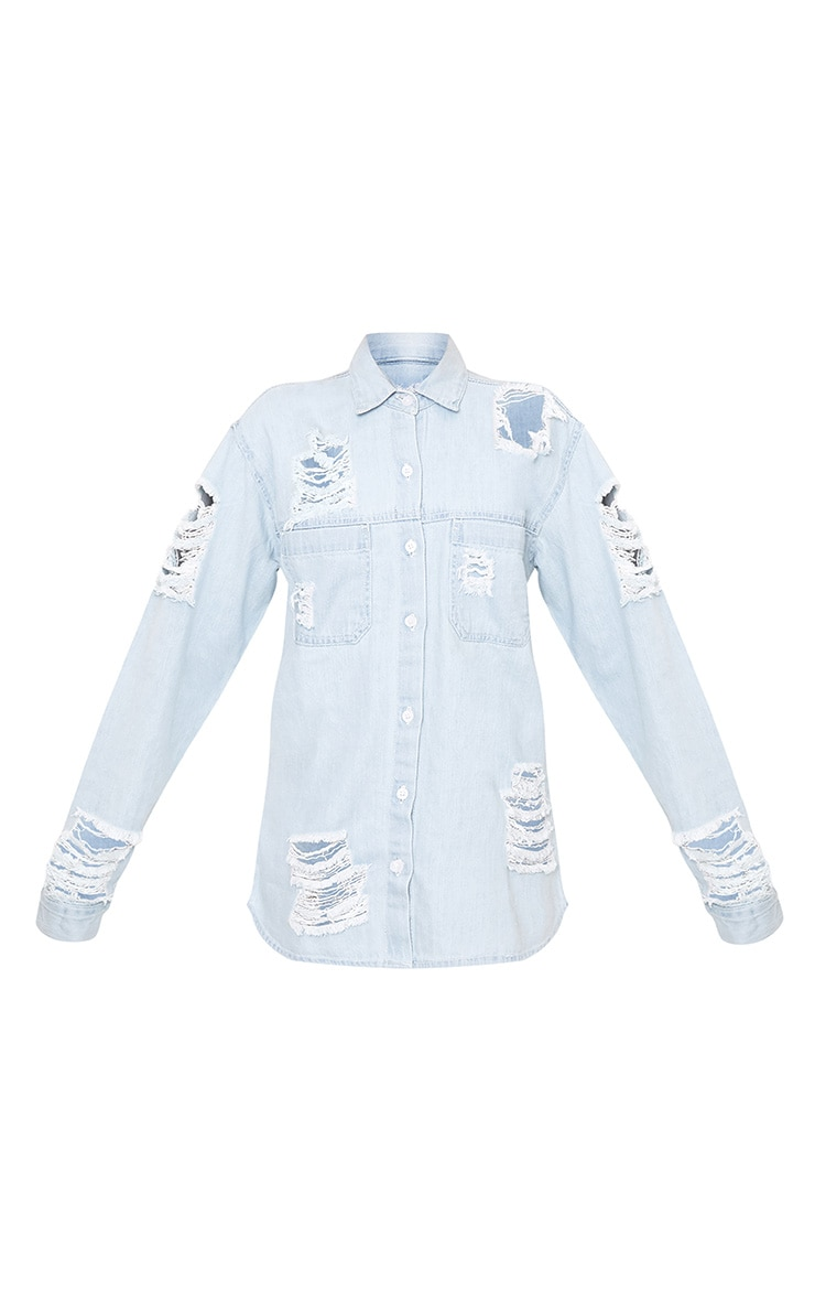 Ferne Super Light Wash Shred Denim Shirt 3