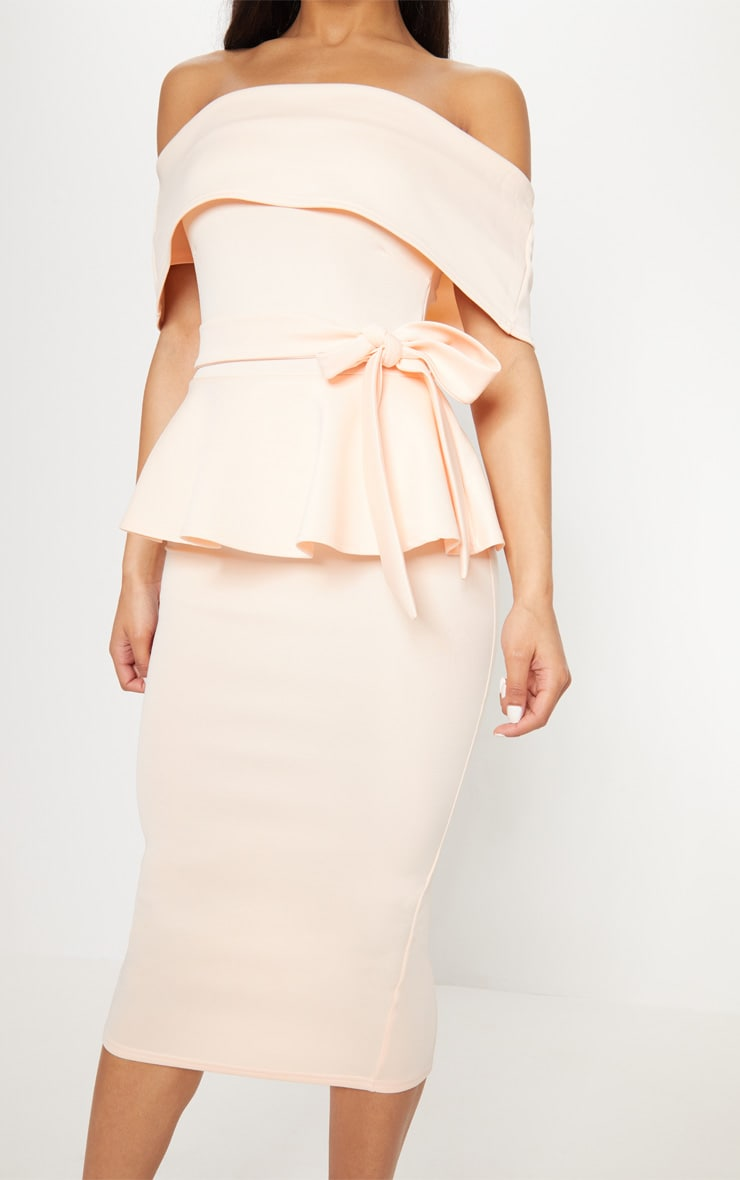 Nude Bardot Peplum Midi Dress 5