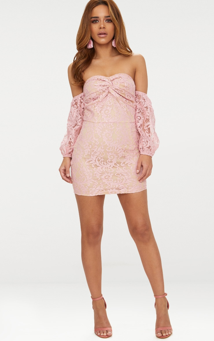 Petite Dusty Pink Lace Puff Sleeve Bodycon Dress 4