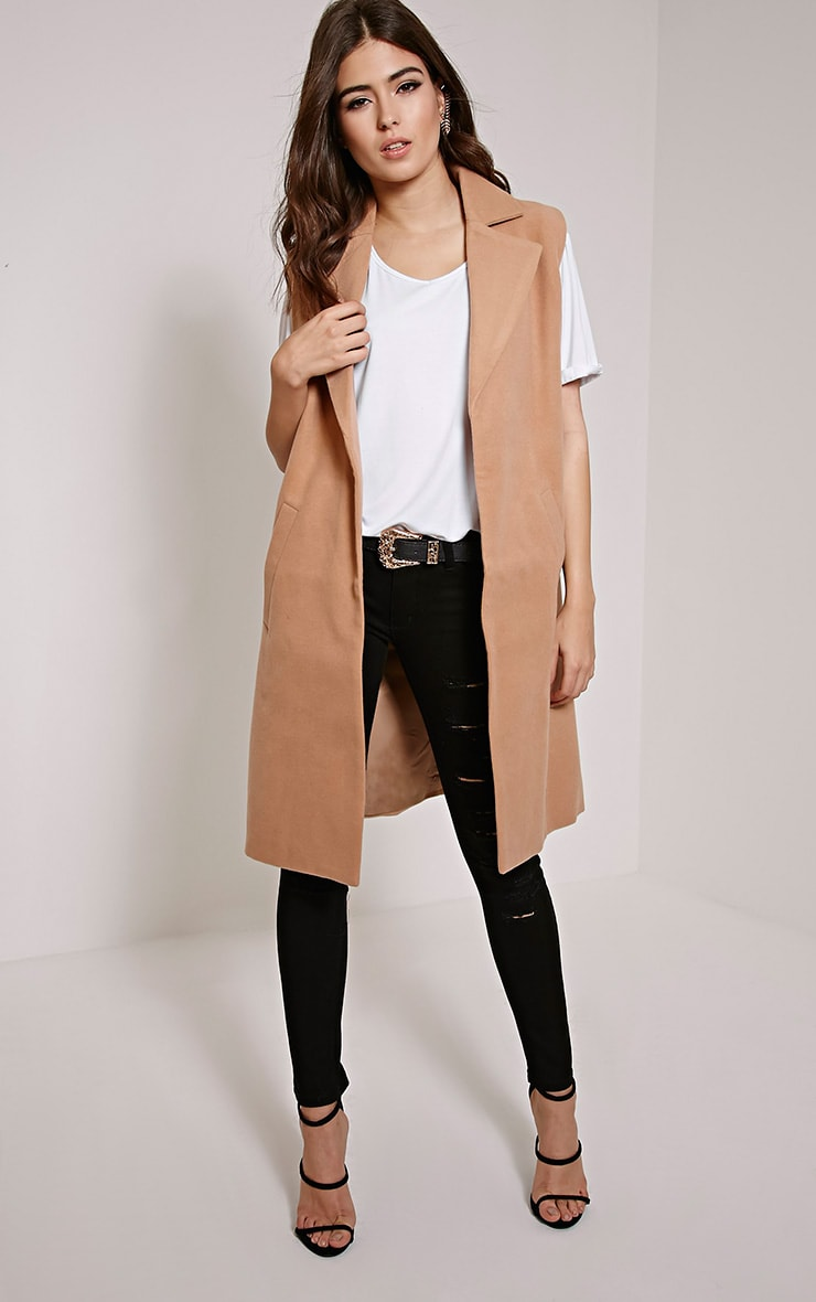 Huey Tan Sleeveless Duster Coat 1