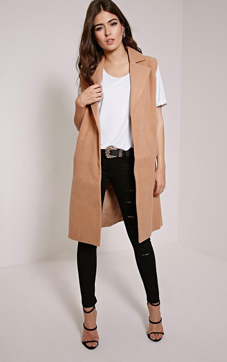 Huey Tan Sleeveless Duster Coat 1