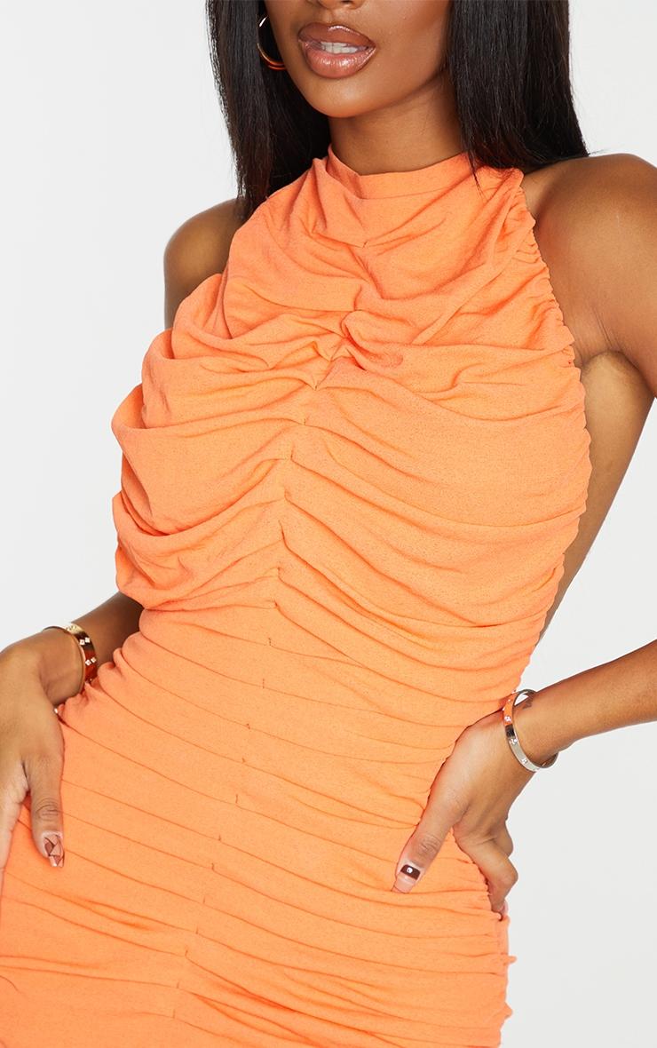 Shape Orange Halterneck Ruched Backless Bodycon Dress 4