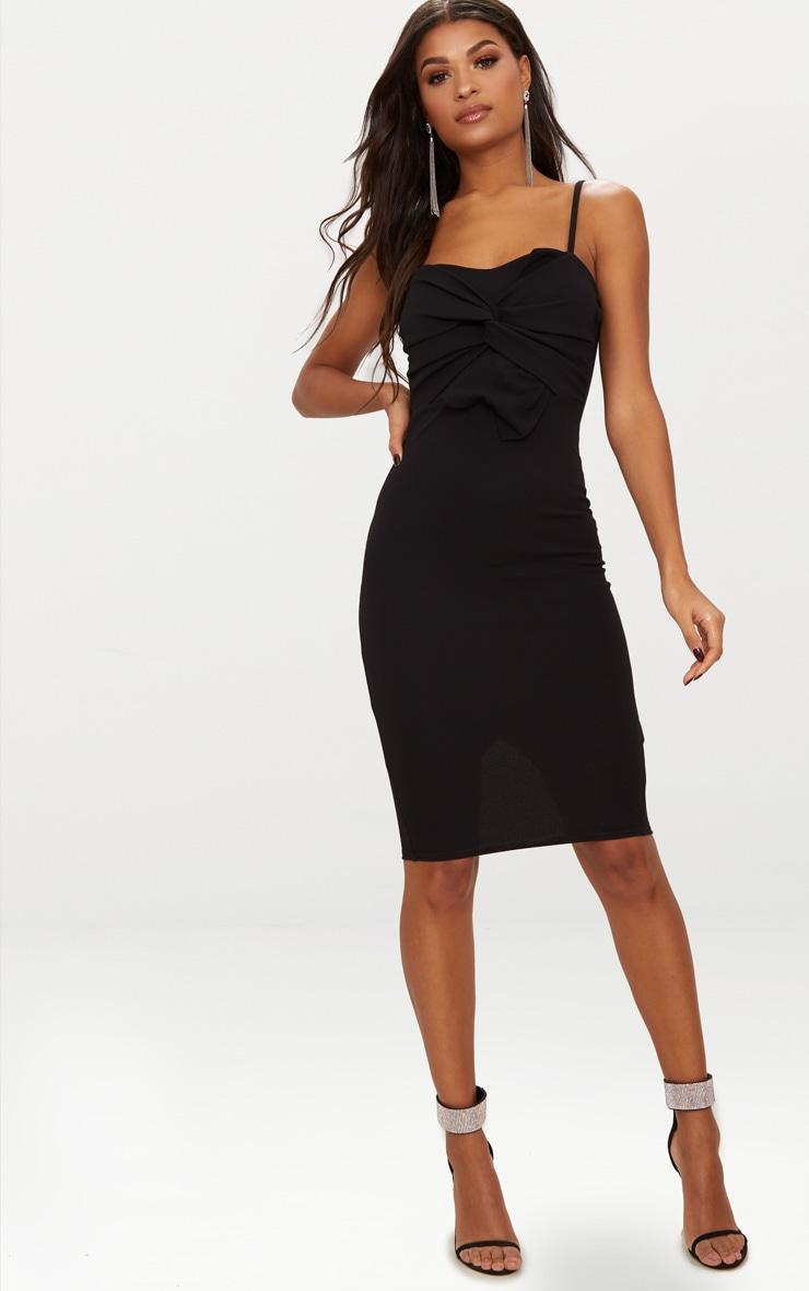 Black Strappy Bow Detail Midi Dress 4