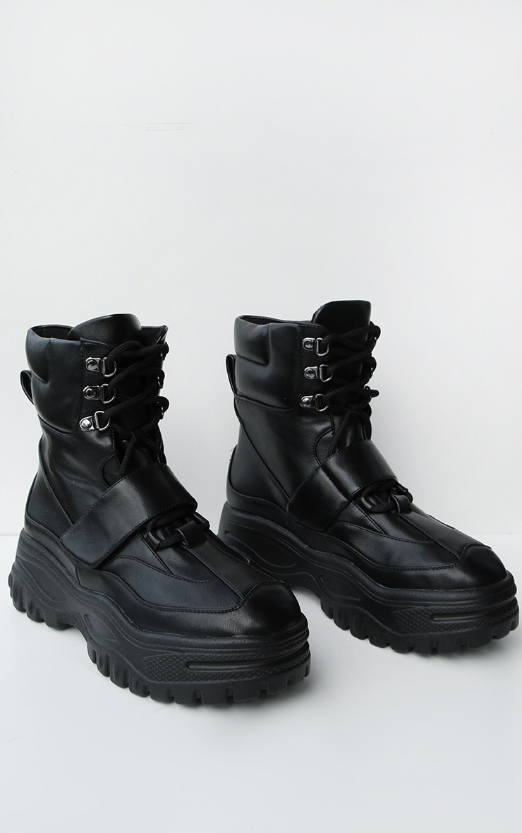 Black Chunky Sole Strap Lace Up Hiker Boots 2