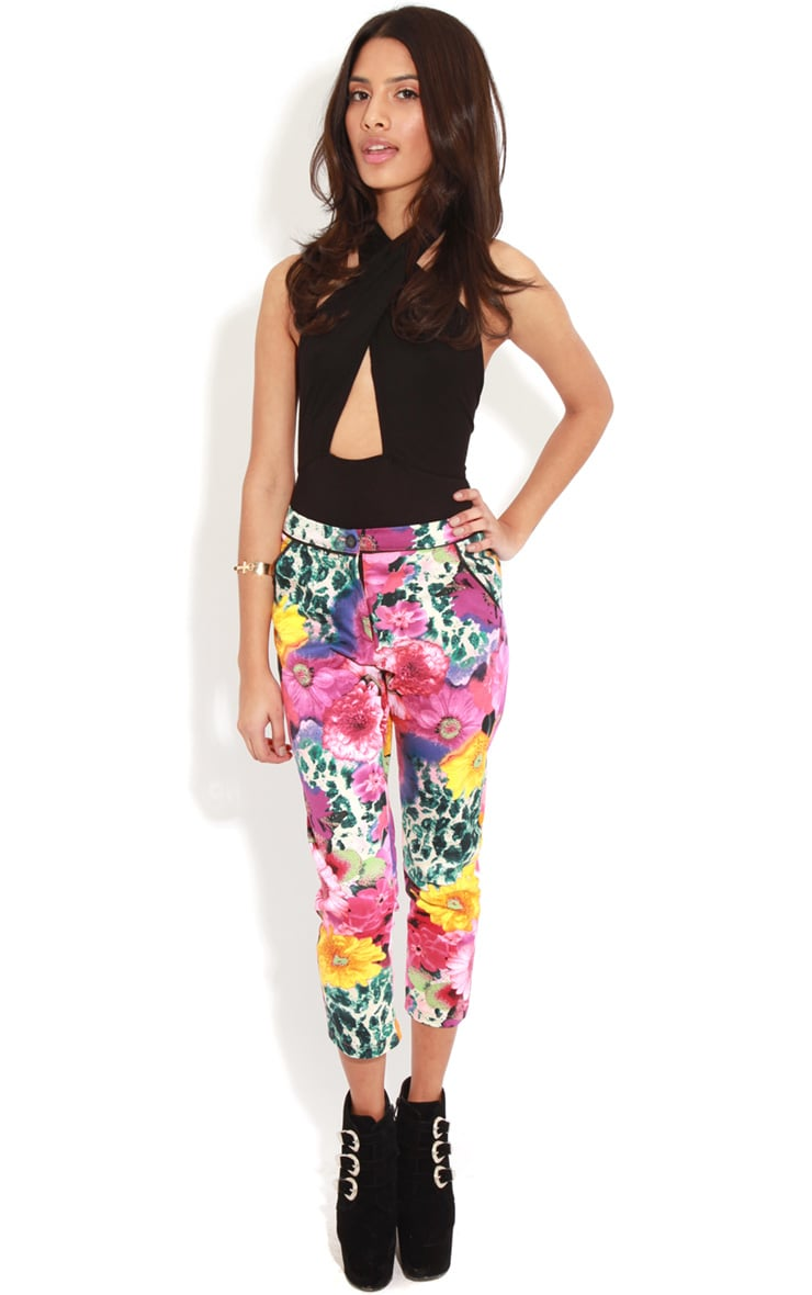 Olive Floral Cropped Jeans  1