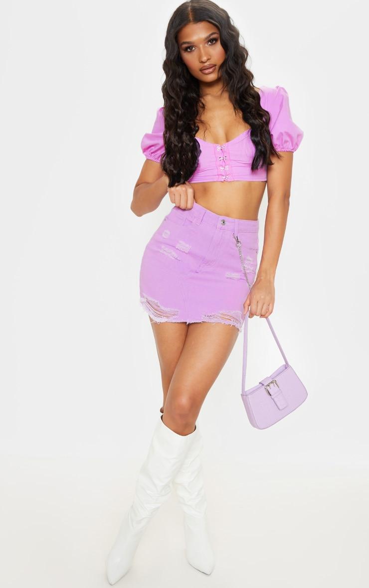 Lilac Distressed Rip Denim Skirt  7